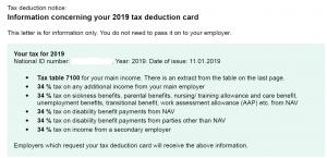 skattekort 2019 norvegija
